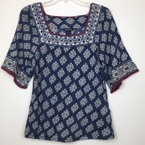 Lucky Brand Boho square neck loose sleeve blouse